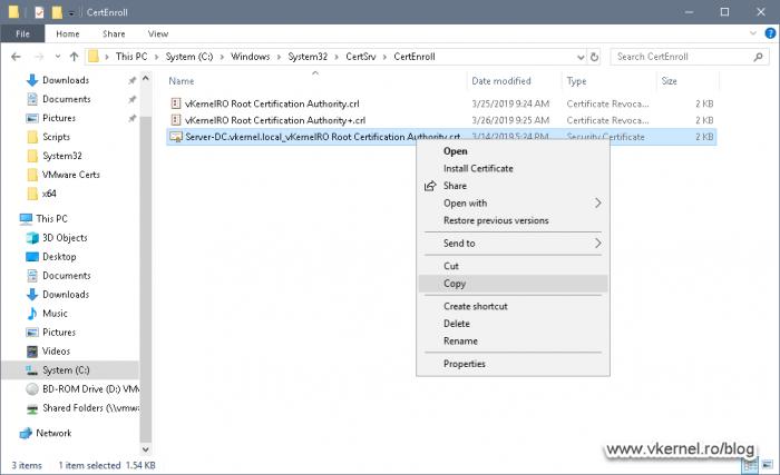 Copying the Enterprise Root certificate
