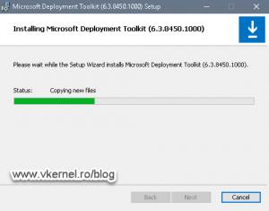 Status screen of the MDT installation process
