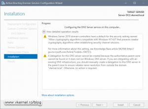 New domain controller promotion progress window
