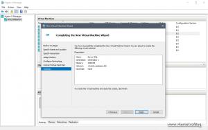 Summary screen for the Create New Virtual Machine Wizard