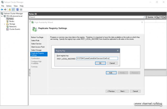 Configuring AD CS registry replication between cluster nodes