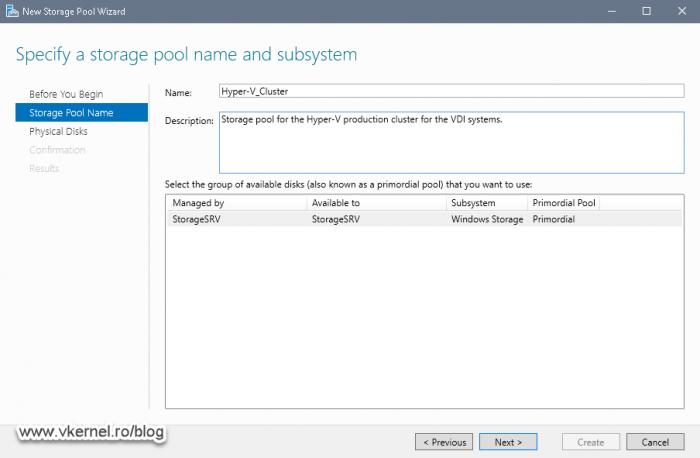Naming the new storage pool