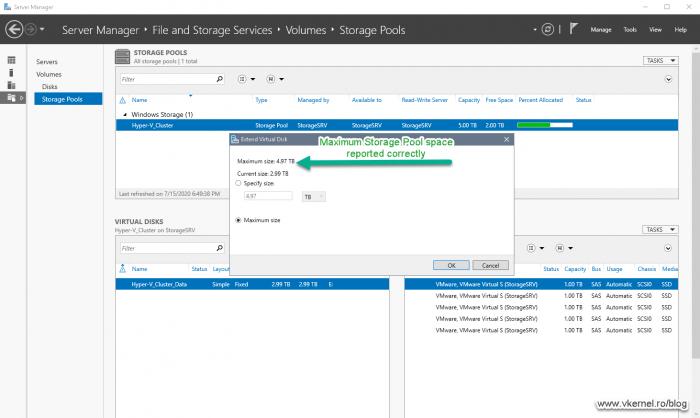 Storage Pool maximum size showing correct value after optimization