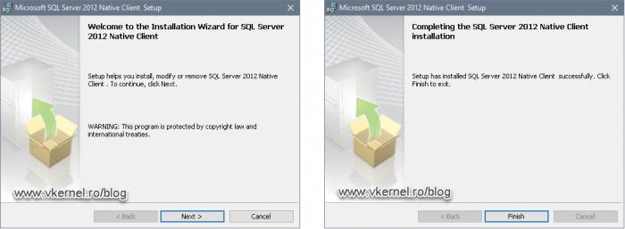 Installing the SQL server native client